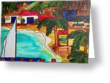 Foxy's At Jost Van Dyke Greeting Card by Patti Schermerhorn