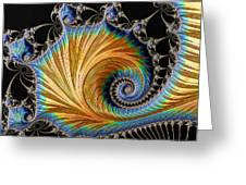 Fractal Art - Blue And Gold Greeting Card