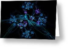 Fractal Forget Me Not Bouquet  Greeting Card