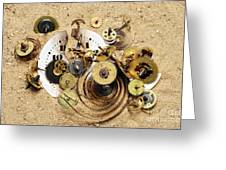 Fragmented Clockwork In The Sand Greeting Card