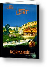 France Normandy Vintage Travel Poster Restored Greeting Card