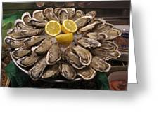 France, Paris Oysters On Display Greeting Card