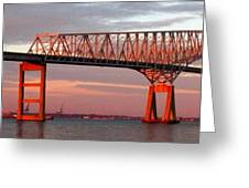 Francis Scott Key Bridge At Sunset Baltimore Maryland Greeting Card