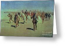 Francisco Vasquez De Coronado Making His Way Across New Mexico Greeting Card by Frederic Remington