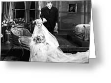 Frankenstein Monster Sneaks Up On Bride 1931 Movie Greeting Card