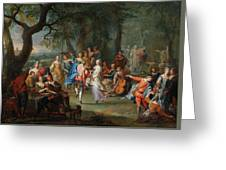 Franz Christoph Janneck Graz 1703-1761 Vienna A Dance In The Palace Gardens, Greeting Card