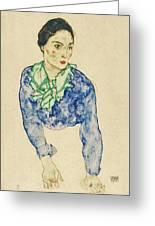 Frauenbildnis Mit Blauem Und Grunem Greeting Card