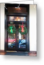 Fredricksburg Door Decorated For Christmas Greeting Card