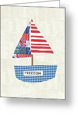 Freedom Boat- Art By Linda Woods Greeting Card