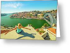 Freedom Woman At Douro River Greeting Card