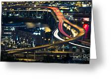 Freeway Winds Through Portland, Oregon At Night Greeting Card by Bryan Mullennix