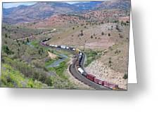 Freight Snaking Through Price Canyon Utah Greeting Card