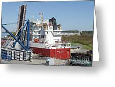 Freighter In Lock Of Saint Lawrence Greeting Card