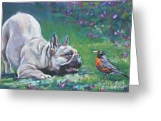 French Bulldog Meets Robin Redbreast Greeting Card