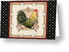 French Country Roosters Quartet Black 3 Greeting Card