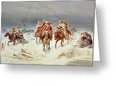 French Forces Crossing The River Berezina In November 1812 Greeting Card