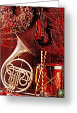 French Horn Christmas Still Life Greeting Card by Garry Gay