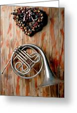 French Horn Hanging On Wall Greeting Card