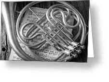 French Horn In Black And White Greeting Card