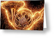 French Horn Outlined With Sparks Greeting Card by Garry Gay