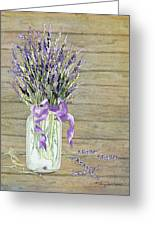 French Lavender Rustic Country Mason Jar Bouquet On Wooden Fence Greeting Card