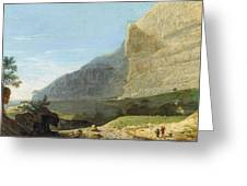 French Master 1st Half Of Th 19th Century   Rocky Cliff Off Shore Greeting Card
