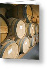 French Oak Barrels Of Wine At Midnight Greeting Card