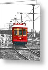 French Quarter French Market Cable Car New Orleans Color Splash Black And White With Film Grain Greeting Card