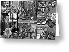 French Quarter Musicians Collage Bw Greeting Card