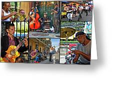 French Quarter Musicians Collage Greeting Card