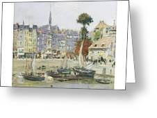 French View Of Honfleur Greeting Card