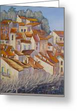 French Villlage Painting Greeting Card