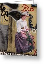 Frescoe Painting Of A Woman In Traditional Dress With Flowers Am Greeting Card