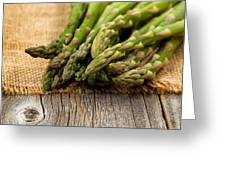 Fresh Asparagus On Napkin And Rustic Wood  Greeting Card