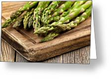 Fresh Asparagus On Rustic Wooden Server Board Greeting Card