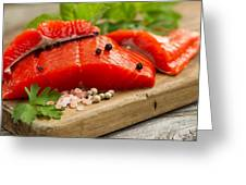 Fresh Copper River Salmon Fillets On Rustic Wooden Server With S Greeting Card