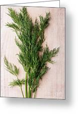 Fresh Green Dill On Wooden Plank Greeting Card