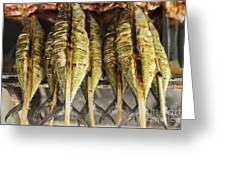 Fresh Grilled Asian Fish In Kep Market Cambodia Greeting Card