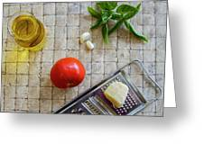 Fresh Italian Cooking Ingredients On Tile Greeting Card