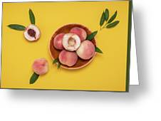Fresh Juicy Peaches And Green Leaves Greeting Card