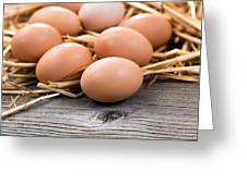 Fresh Organic Eggs On Rustic Wooden Boards And Straw Greeting Card