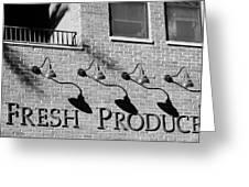 Fresh Produce Signage Black And White Greeting Card