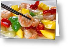 Fresh Shrimp And Peppers On White Serving Plate Ready To Eat Greeting Card