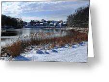 Fresh Snow Along The Creek Greeting Card