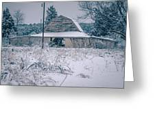 Fresh Snow Sits On The Ground Around An Old Barn Greeting Card