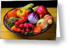 Fresh Vegetables In Lovely Basket Greeting Card