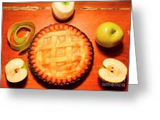 Freshly Baked Pie Surrounded By Apples On Table Greeting Card