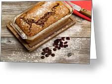Freshly Baked Zucchini Bread On Rustic Wooden Boards Greeting Card
