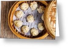 Freshly Cooked Dumplings Inside Of Bamboo Steamer Ready To Eat  Greeting Card