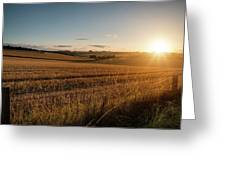 Freshly Harvested Fields Of Barley In Countryside Landscape Bath Greeting Card
